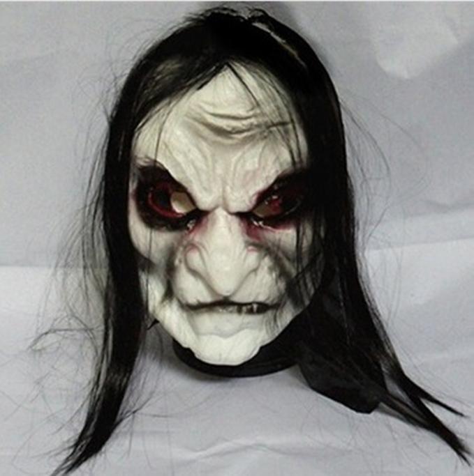 Máscara fantasma cabelo preto para Halloween Cosplay Festa Fantasy