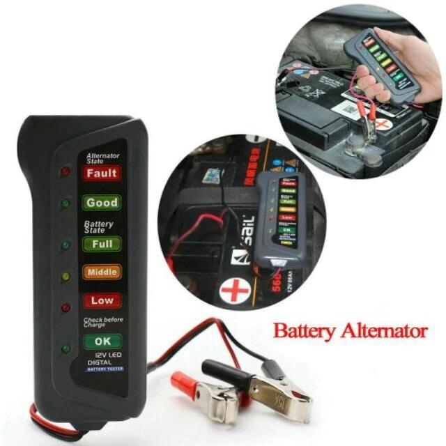 Medidor Teste de Carga Diagnóstico da Bateria Carro e Moto e Alternador