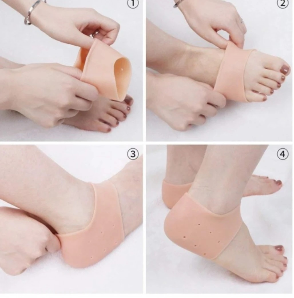 Meia Palmilha de Calcanhar Silicone Anti-Rachaduras Tratamento para os pés