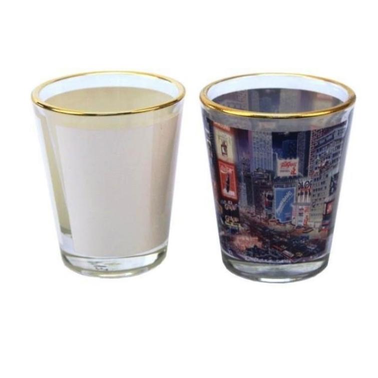 Copo Shot de Vidro Tequila 50ml Cônico tarja Branca e Bordas Douradas Personalizado
