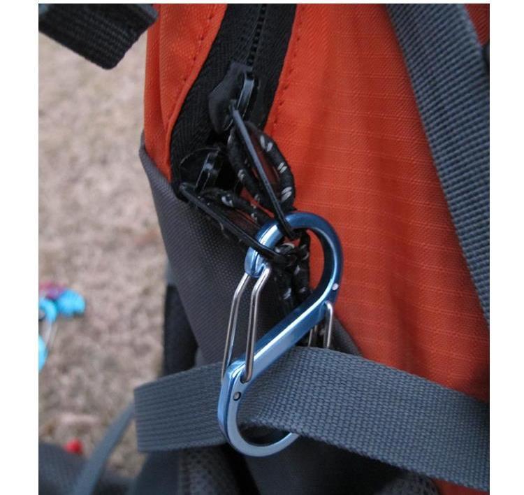 Mosquetão com 2 Ganchos Multifuncional para Tenda Mochileiros Escalada Camping e Caminhadas