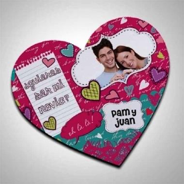 Mouse Pad Coração com tecido 17x19cm Personalizado