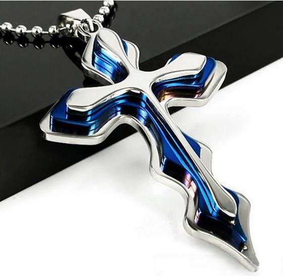 Pingente cruz inoxidável azul presente fashion com colar