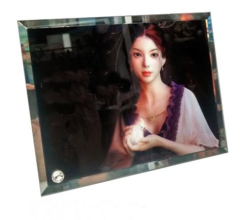 Porta Retrato de Vidro 23x18cm Personalizado bordas chanfradas e espelhadas