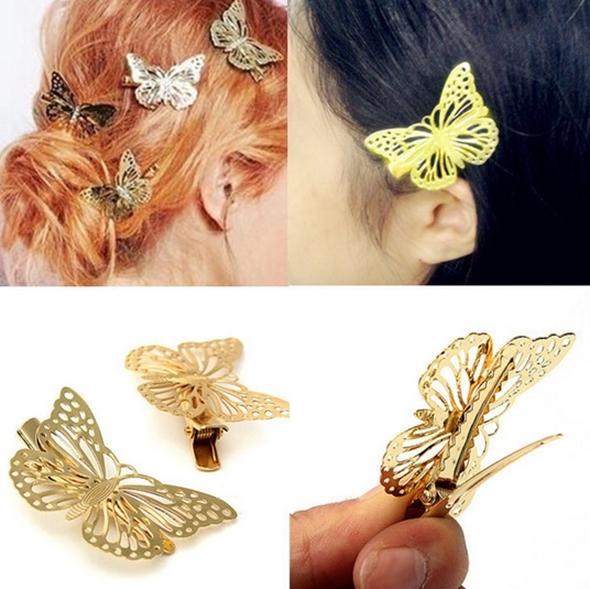 Pregadeira para cabelo enfeite Borboleta Dourada brilhante 5cm