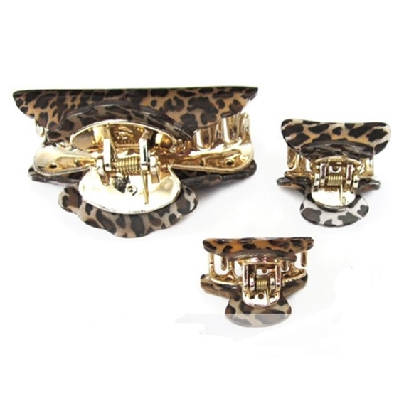 Pregadeira para cabelo leopardo onça Gucci com garras douradas