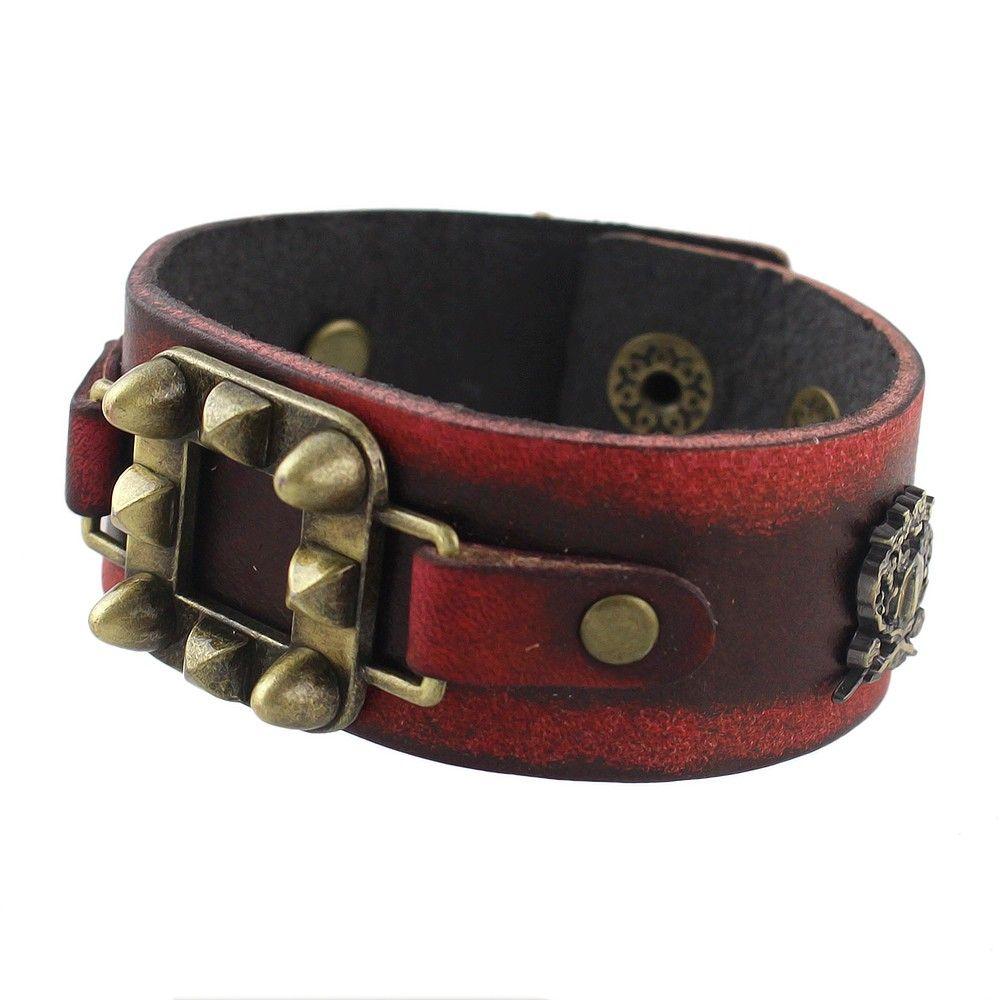 Pulseira de Couro PU Bracelete Unissex Estilo Vermelha Vintage