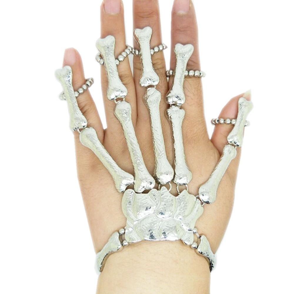 Pulseira Esqueleto Ossos da mão Cor Prata com Rubi Gótico