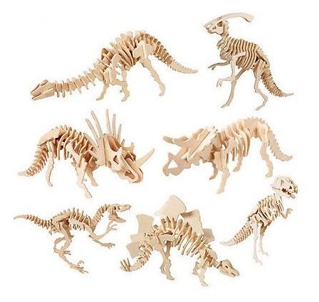 Quebra-cabeça 3D Madeira 1 Dinossauro Brinquedo Educativo para Crianças