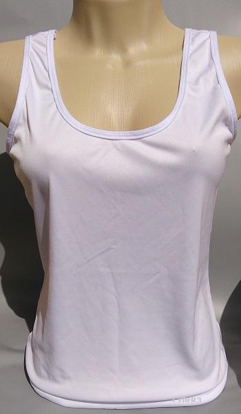 Regata Feminina Branca em tecido Dry Fit Personalizada