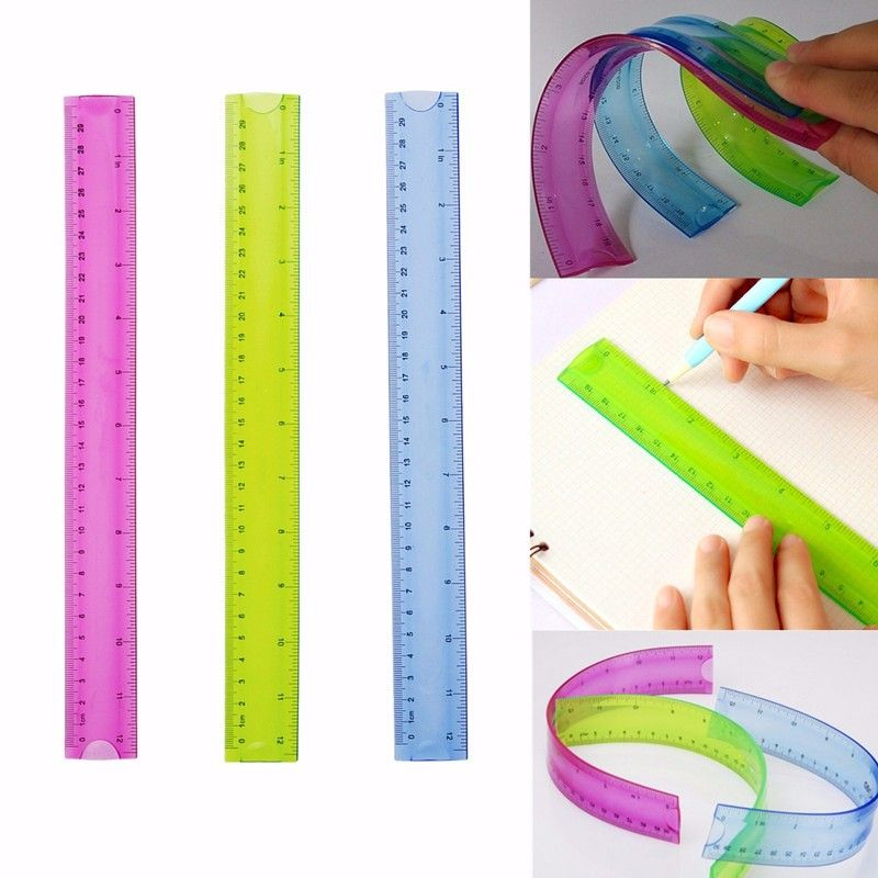 Régua de 30cm Flexível Estudante Papelaria Material Escolar Escritório