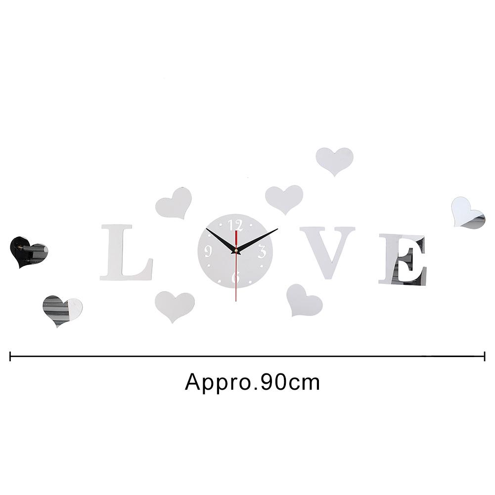 Relógio Adesivos de Parede Efeito de Espelho Acrílico LOVE Criativo e Romântico