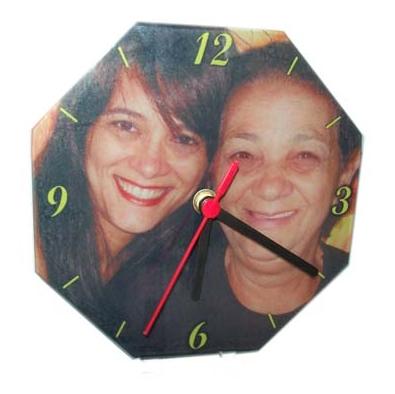 Relógio de Parede Formato de Octogono 20cm Acrílico Personalizado