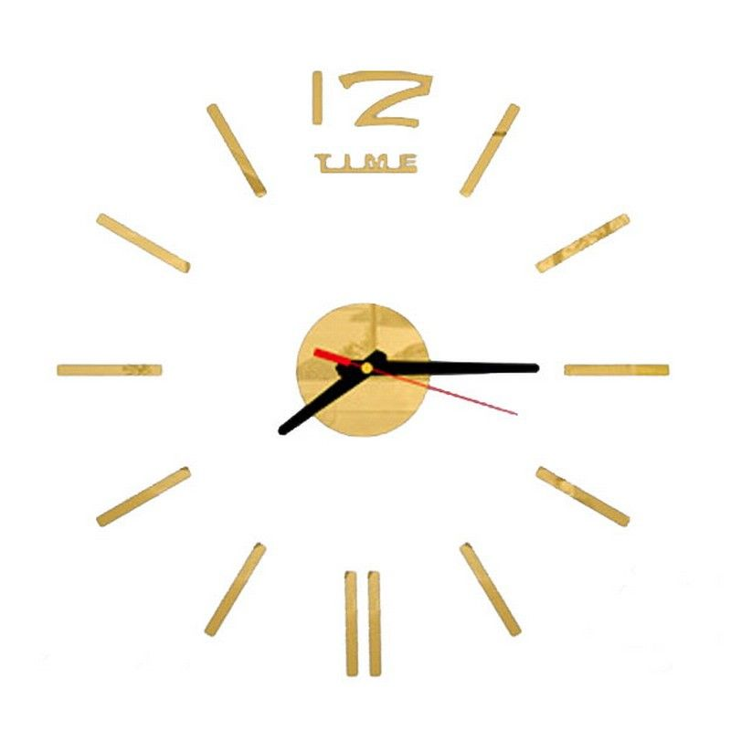 Relógio Espelho de Parede Acrílico Adesivo 3D Dourado Decorativo