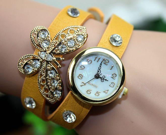 Relógios de Pulso Feminino Mulheres com pulseira de couro e enfeites borboleta