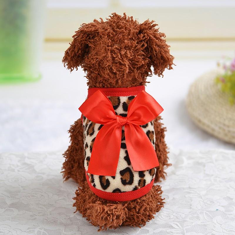 Roupa Colete Lã Macio do Animal de Estimação Pet do Filhote de Cachorro com laço