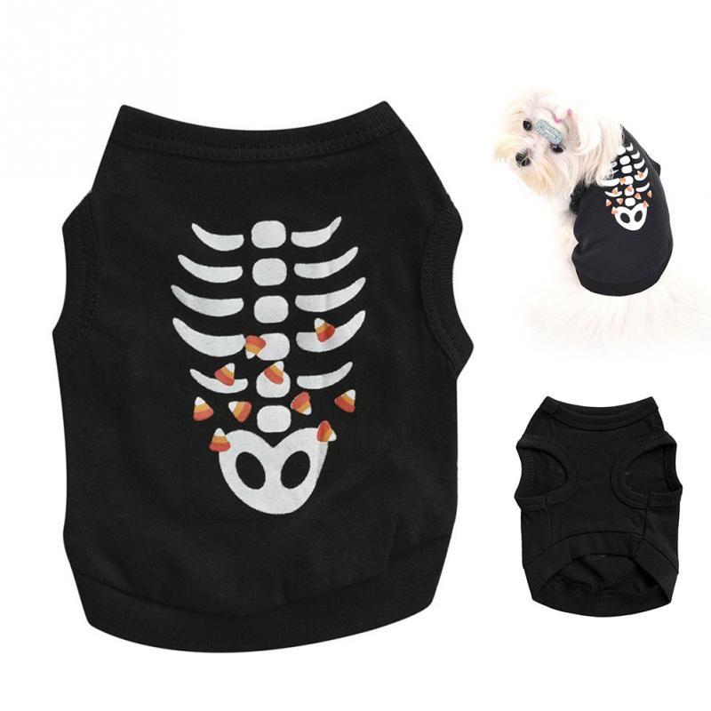 Roupa Esqueleto para Halloween Cachorro Cão de Estimação