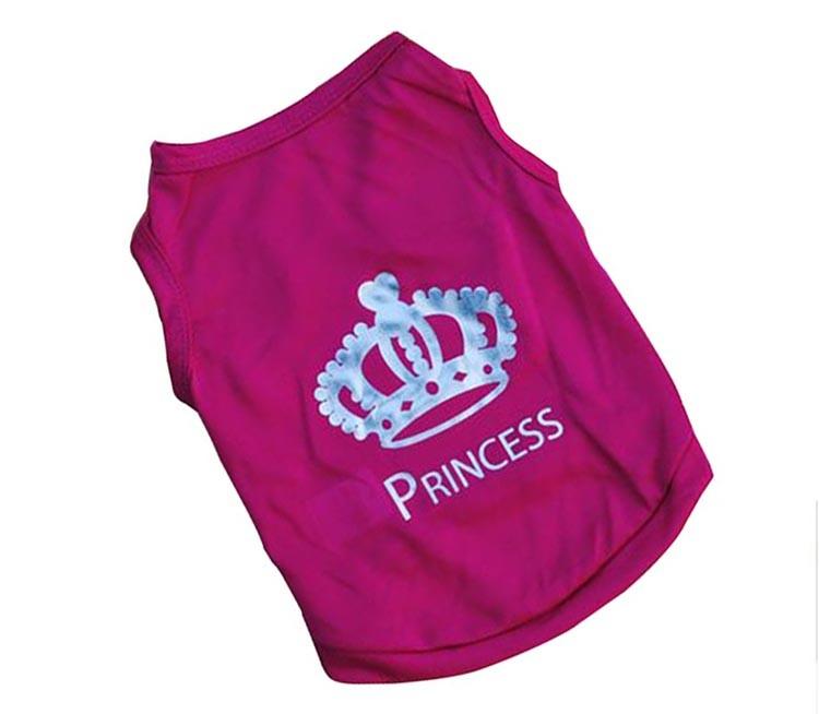 Roupa Pet do Cão Coroa Colete de Poliester Camiseta filhote de Cachorro Pink