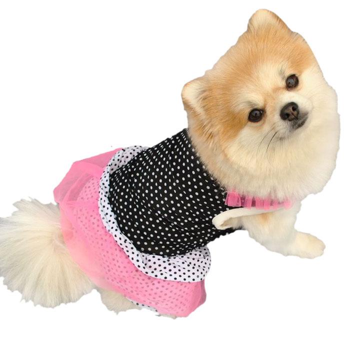 Roupa Vestido de Princesa de Bolinha Cão Filhote de cachorro Pet