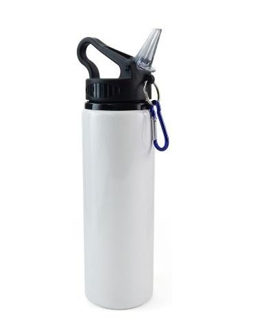 Squeeze de Alúminio Branco Bico Retrátil Tampa Preta 750ml Personalizado