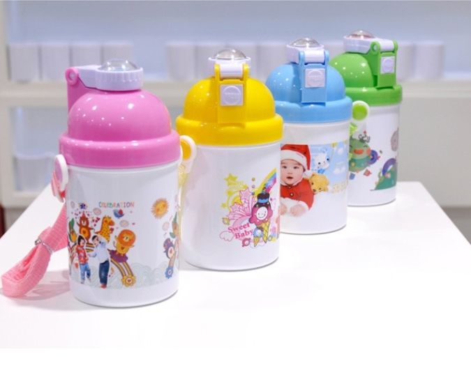 Squeeze Garrafinha Infantil plástico Tampa e alça coloridas 400ml Personalizado