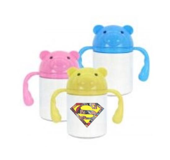 Squeeze Infantil plástico Tampa ursinho e alça coloridas 250ml Personalizado