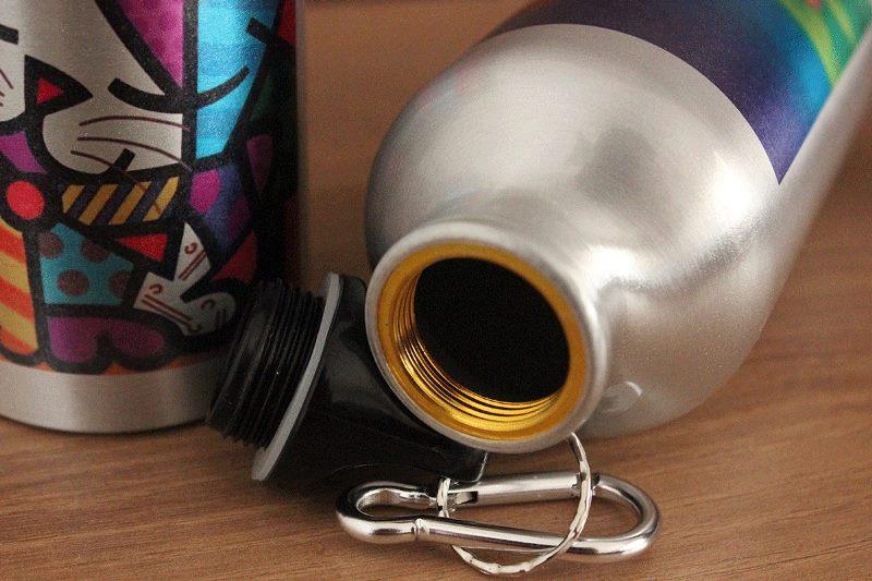 Squeeze Prateado Tampa Cantil 400ml de Aluminio Personalizado