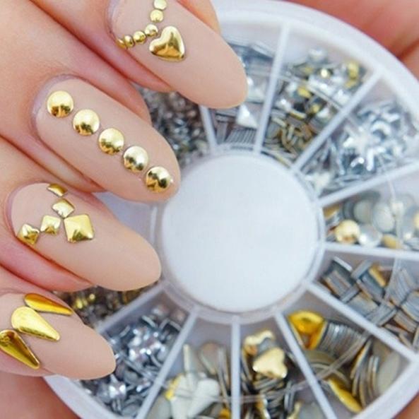 Strass para unha 3D prata e ouro com 6 estilos Decoração case redondo