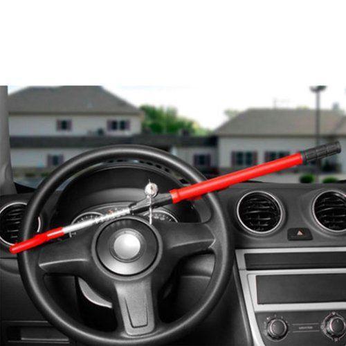 Trava de Volante Segurança Anti Furto Universal para Carro Vermelho com 2 Chaves Tetra