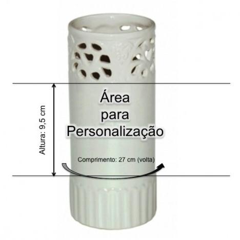 Vaso de Flores em Cerâmica Personalizado 27cm com foto ou tema e mensagem