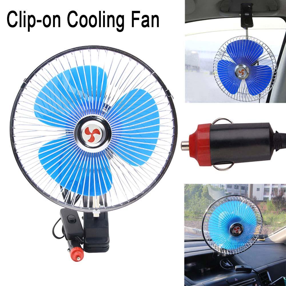 Ventilador Portátil 20cm Giratório para Carro Van Kombi Caminhão Calor 12V ou 24V