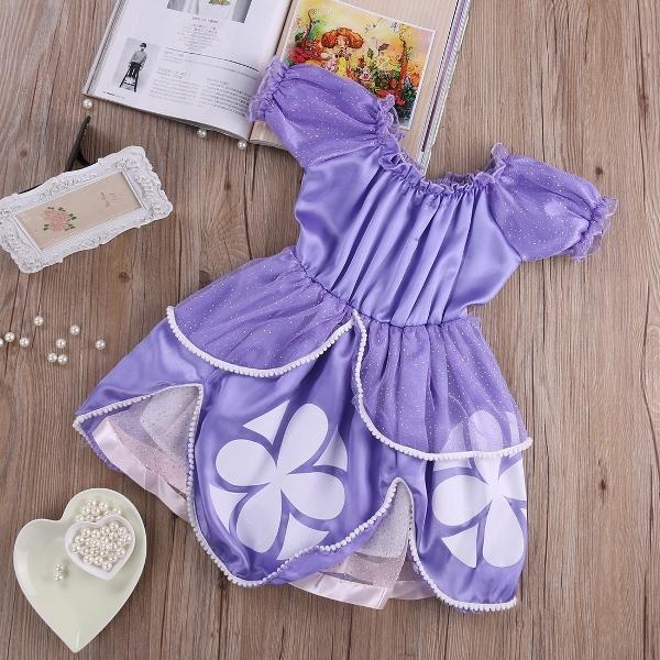 Vestido Criança Meninas Princesa Sofia Lilás Personagem dos Desenhos Animados