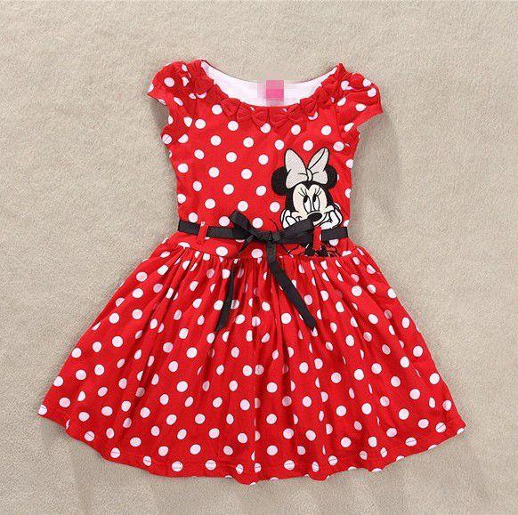 Vestido de Minnie Mouse Desenhos Animados de Algodão de Menina Roupa