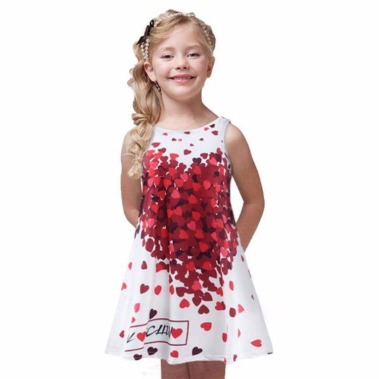 Vestido Estilo Princesa Coração Crianças Meninas Casual