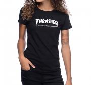 Camisa Baby Look Thrasher - Skate Mag Preto
