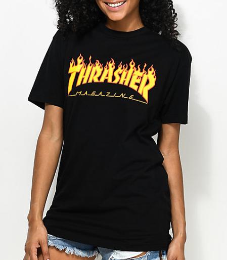 Camisa Baby Look Thrasher - Flame Logo Preto  - No Comply Skate Shop