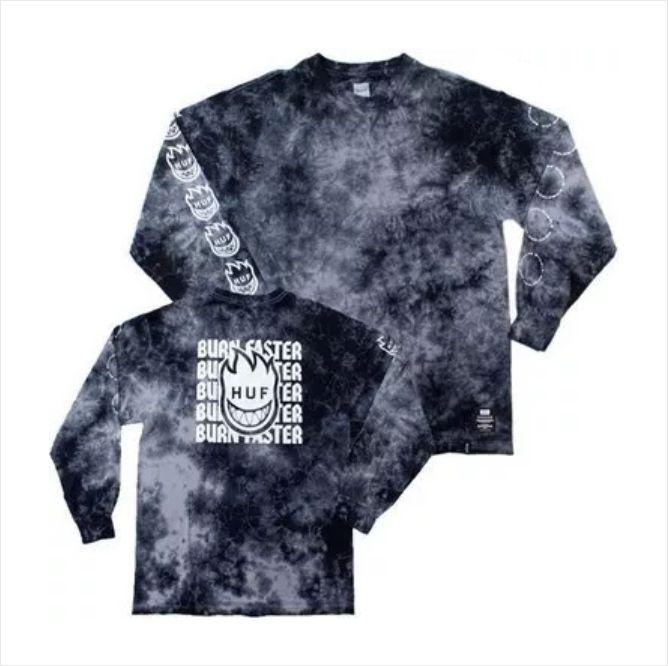 Camisa HUF - M/L Spitfire Burn Faster Black  - No Comply Skate Shop