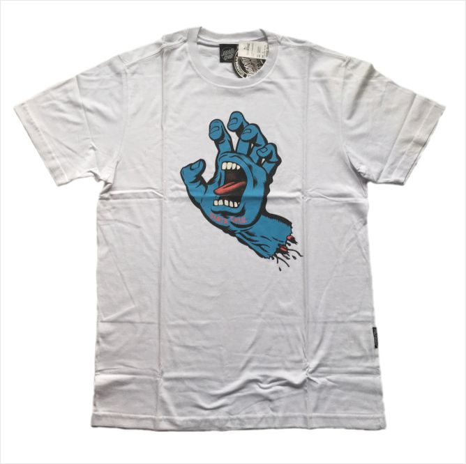 Camisa Santa Cruz - Screaming Hand Branca  - No Comply Skate Shop
