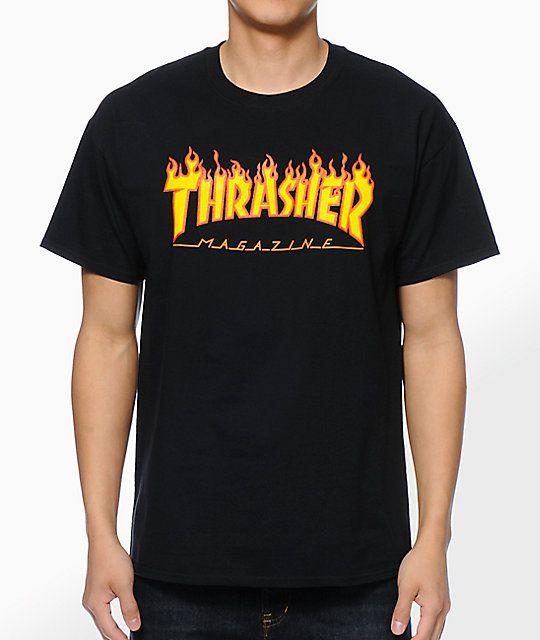 Camisa Thrasher - Flame Logo Preto  - No Comply Skate Shop