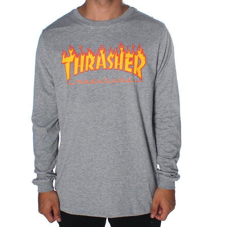 Camisa Thrasher - ML Flame Logo Mescla  - No Comply Skate Shop