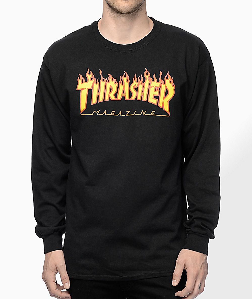Camisa Thrasher - ML Flame Logo Preto  - No Comply Skate Shop