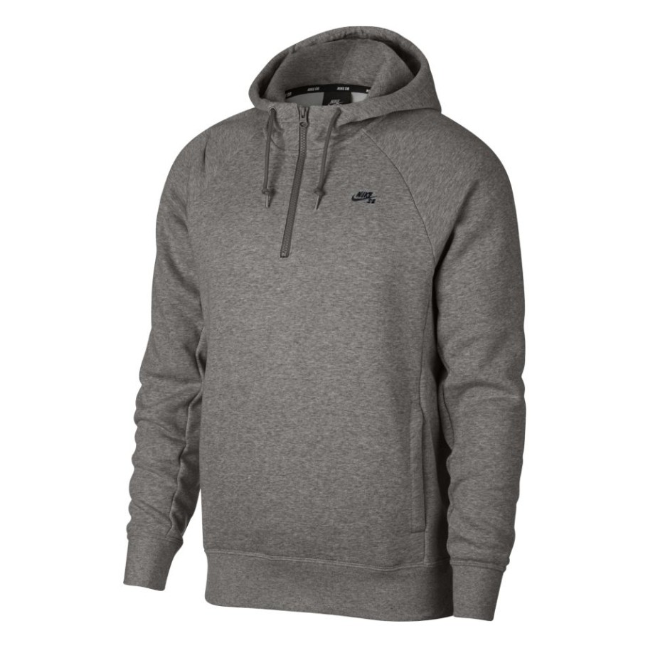 Jaqueta Nike SB - Hoodie Icon HZ Grey Heather/Black  - No Comply Skate Shop