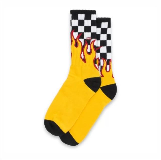 Meia Vans - Flame Check Crew Black/White - Tam 39-44  - No Comply Skate Shop