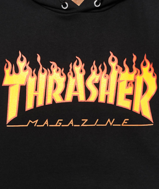 Moletom Thrasher - Capuz Flame Logo Preto  - No Comply Skate Shop