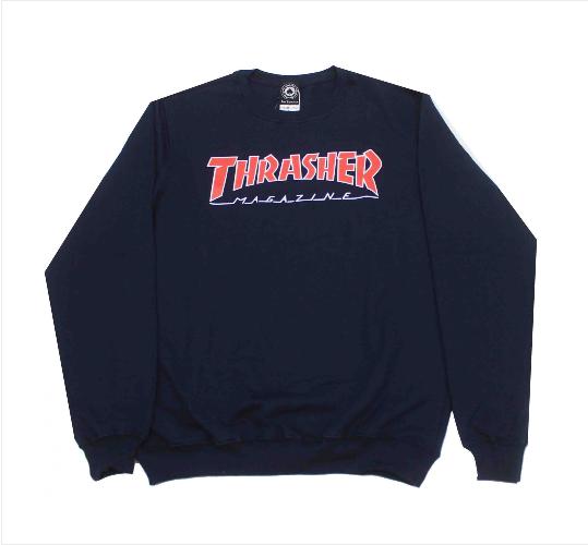 Moletom Thrasher - Careca Outlined Crewneck Azul  - No Comply Skate Shop