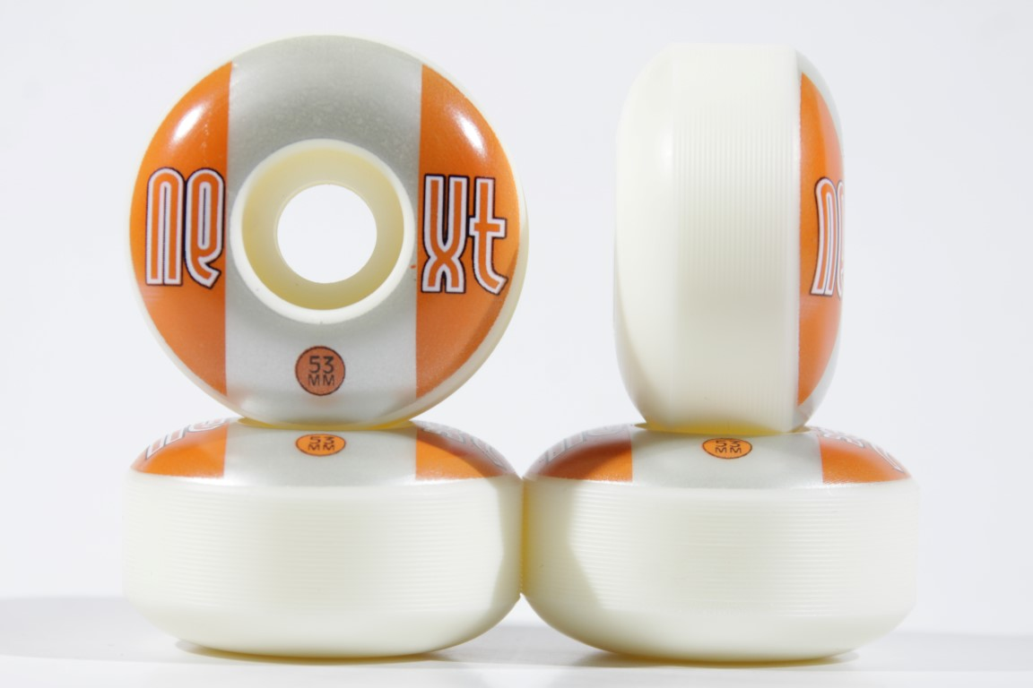 Roda Next - Sem Miolo Next II White 53mm Laranja/Prata  - No Comply Skate Shop
