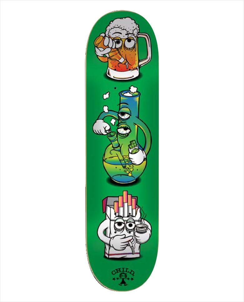 "Shape Child - Heat Transfer Beer Bong Cigar Green 8.1""  - No Comply Skate Shop"