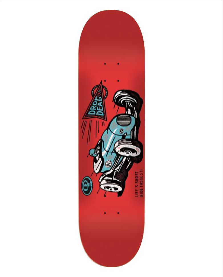 "Shape Dropdead - Heat Transfer Ride Fastest Red 8""  - No Comply Skate Shop"