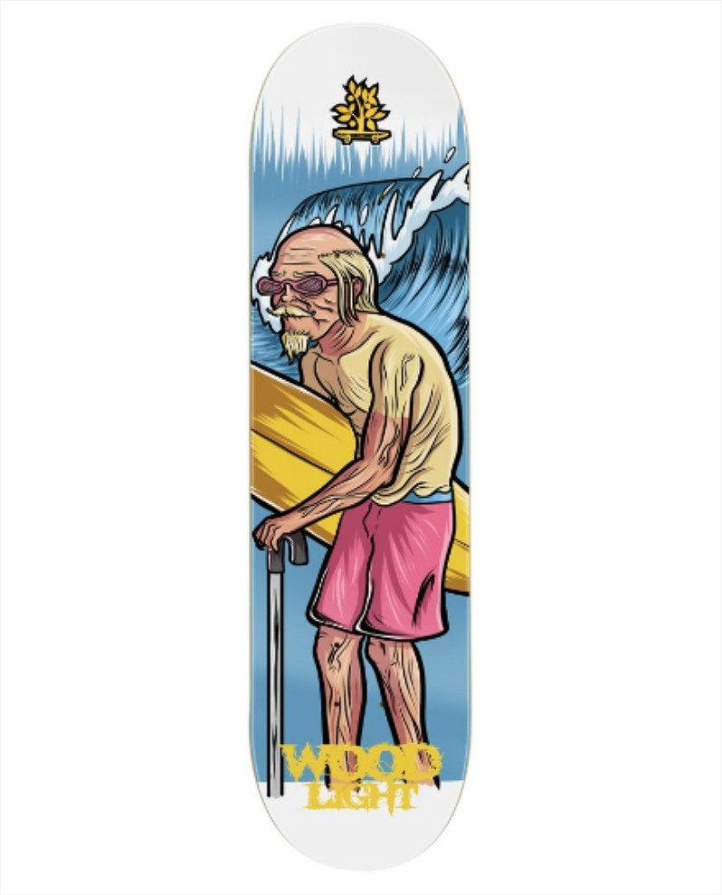 "Shape Wood Light - Fiber Glass Grandfather Surfer 8.0""  - No Comply Skate Shop"