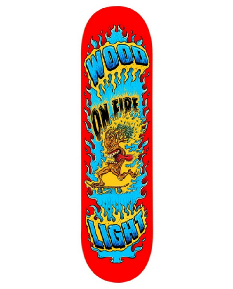 """Shape Wood Light - Maple On Fire Red 8.0""""  - No Comply Skate Shop"""